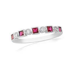 Mark Milton 18ct White Gold , Diamond and Ruby Mill Grain Edge Ring