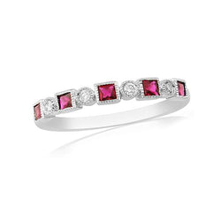 Mark Milton Diamond and Ruby Mill Grain Edge 18ct White Gold Ring
