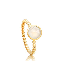 Astley Clarke Still Mini Moonstone Beaded Edge 18ct Gold Plated Ring