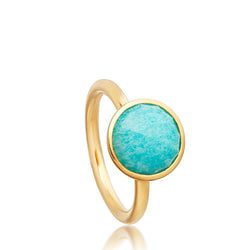 Astley Clarke Stilla Amazonite 18ct Gold Pleated Round Ring