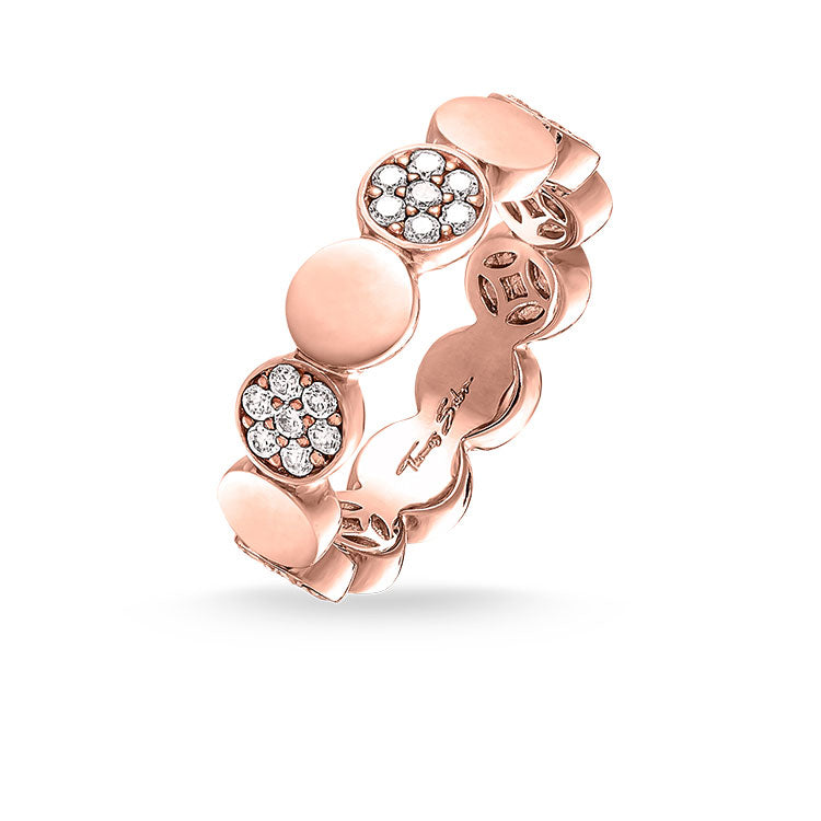 Thomas Sabo White Cubic Zirconia Rose Gold Plate Circles Glam And Soul Ring