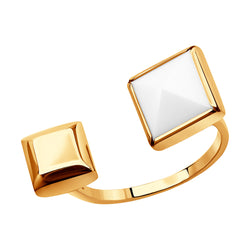 Sokolov Edge Gold Square and Cacholong Open Ring