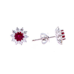 18 ct White-Gold Ruby and Diamond Daisy Cluster Stud Earrings