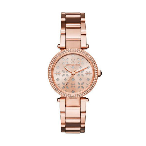 23728fd50d3c Michael Kors Ladies Mini Parker Rose Gold Tone Flower Detail Watch ...