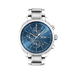 Hugo Boss Grand Prix Stainless Steel Blue Dial Chronograph 43mm Watch