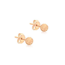 Hoxton 9 ct Rose-Gold Small Diamond-Cut Ball Stud Earrings