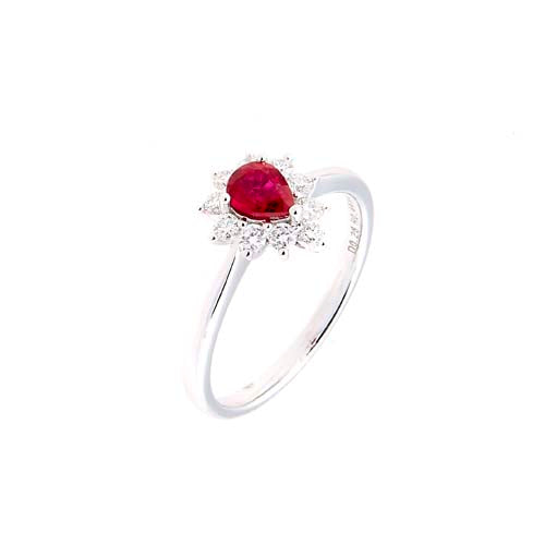 Ruby and Diamond 11 Stone18 ct White-Gold Pear Cluster Ring