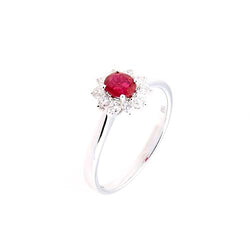 Ruby and Diamond 11 Stone 18 ct White-Gold Oval Cluster Ring