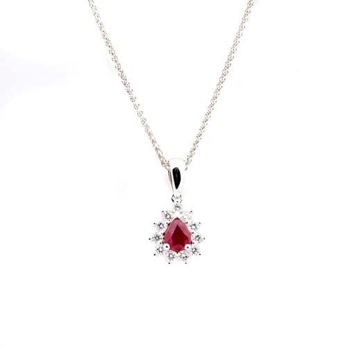 12 Stone Pear Ruby Diamond and 18 ct White-Gold Cluster Pendant Necklace