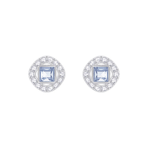 Swarovski Angelic Square Rhodium Plated Blue Pierced Stud Earrings
