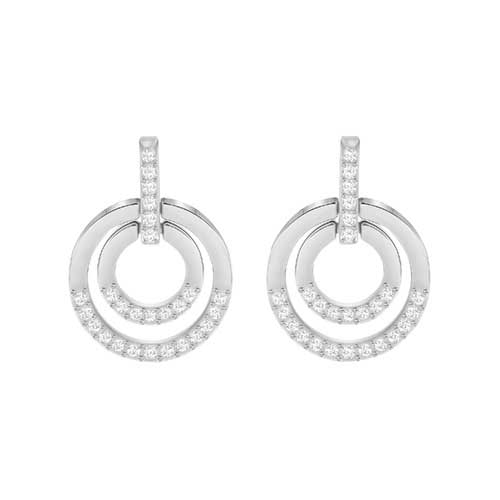 Swarovski Circle Double White Rhodium Plated Pierced Earrings