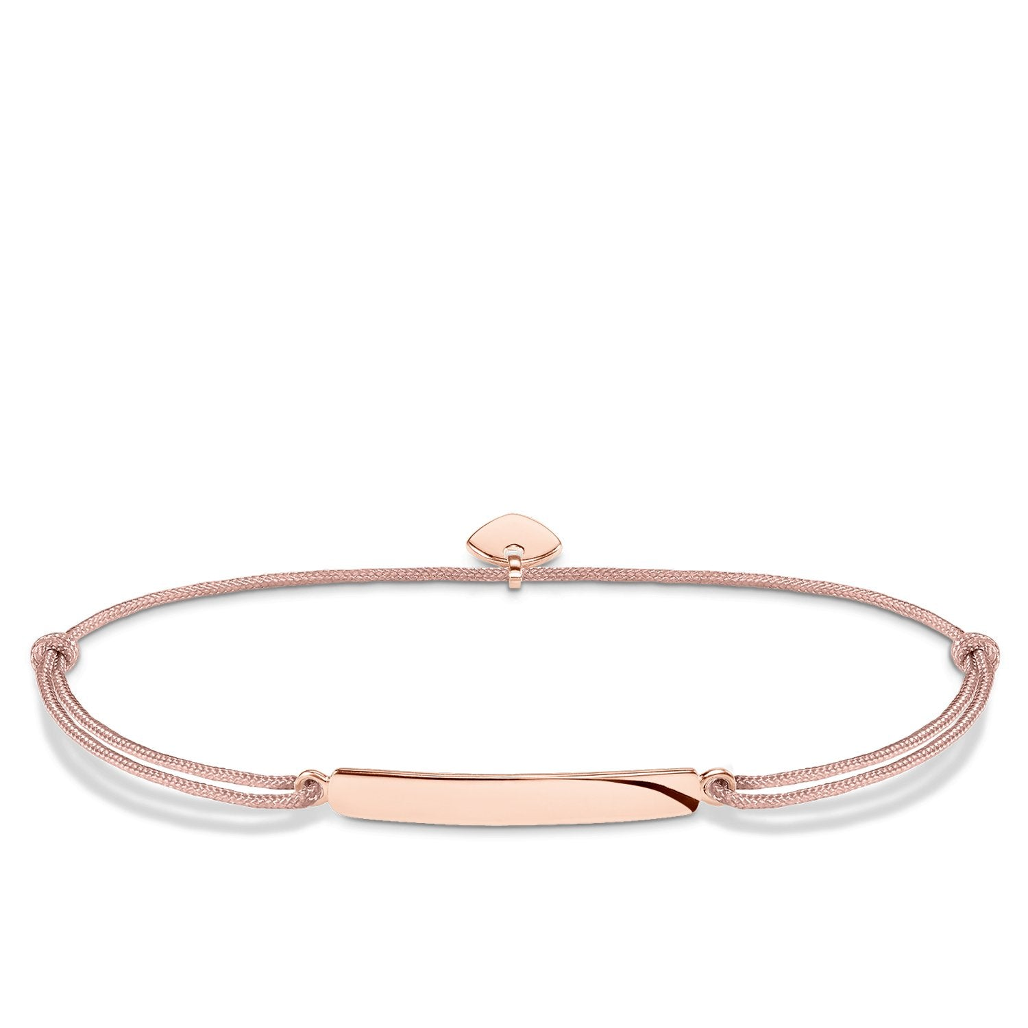 Thomas Sabo Rose-Gold Toned Beige Nylon Little Secret Bracelet
