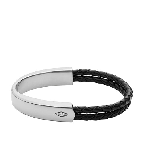 Fossil Vintage Casual Stainless Steel and Leather Bracelet