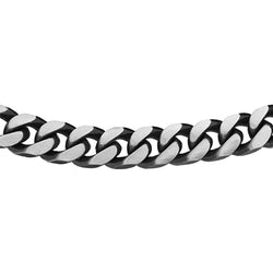 Hoxton Oxidised Sterling Silver Gents Curb Chain