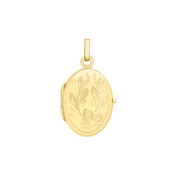 Hoxton 9 ct Gold Oval Engraved Flower Locket
