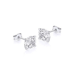Hoxton 9 ct White-Gold Round Zirconia Stud Earrings