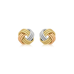 Hoxton 9 ct Multi-Gold Triple Knot Stud Earrings