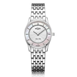 Rotary Ultra Slim Steel & Mother of Pearl 27 mm Women's Watch