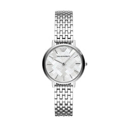 Emporio Armani 32 mm Stainless Steel and Mother Of Pearl Ladies Bracelet Watch