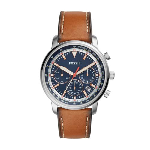 Fossil Goodwin 44 mm Blue Chronograph Stainless Steel and Leather Gent's Watch