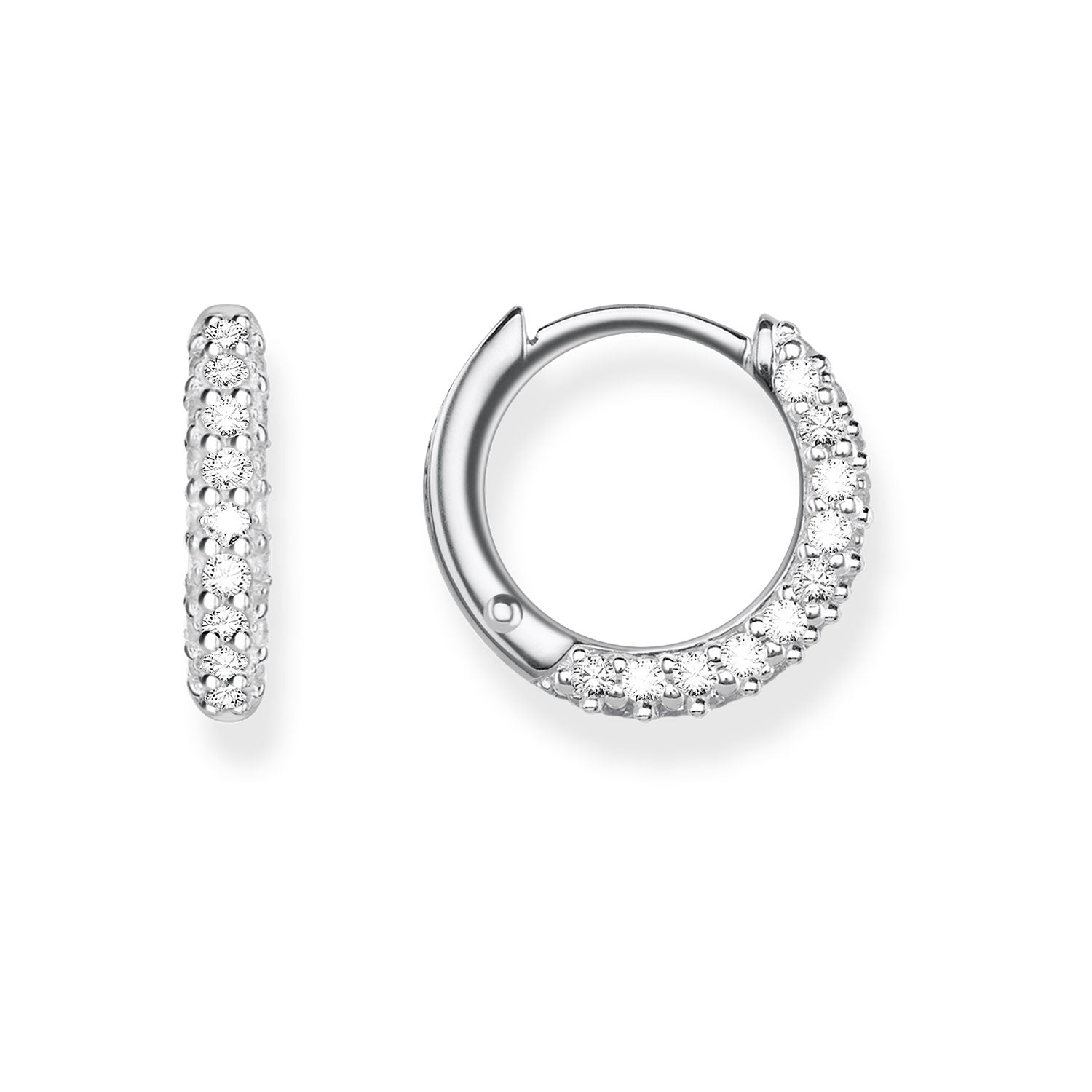 Thomas Sabo Classic Silver & Zirconia Pavé Hinged Hoop Earrings