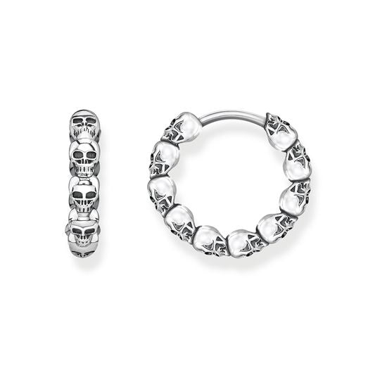 Thomas Sabo Silver Skull Hinged Hoop Earrings