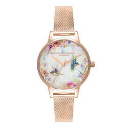 Olivia Burton Painterly Prints Rose-Gold Plated Mesh 30 mm Ladies' Watch