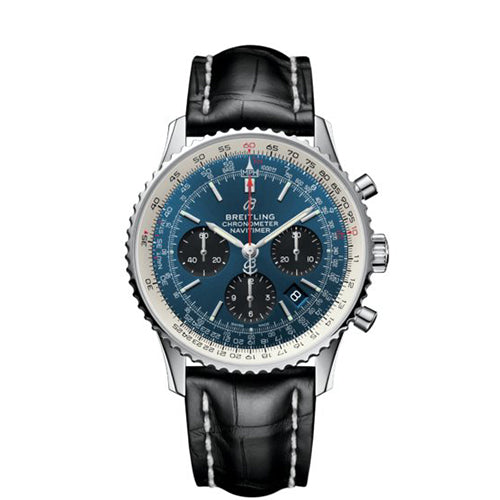 Breitling Navitimer 1 B01 Steel Blue & Black Leather 43 mm Automatic Gents Watch