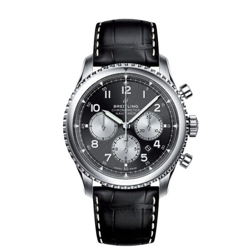 Breitling Navitimer 8 B01 Steel & Black Leather 43 mm Automatic Watch