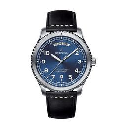 Breitling Navitimer 8 Day & Date Steel Blue Leather 41 mm Automatic Watch