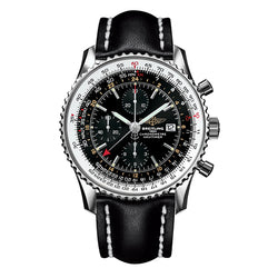 Breitling Mens Navitimer World Black Leather Watch