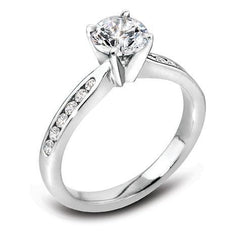 Platinum & Round Brilliant Cut Diamond Engagement Ring with Diamond Set Shoulders