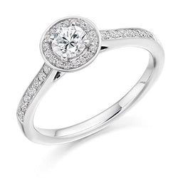 Diamond + Platinum Smooth Set Round Brilliant Halo Engagement Ring