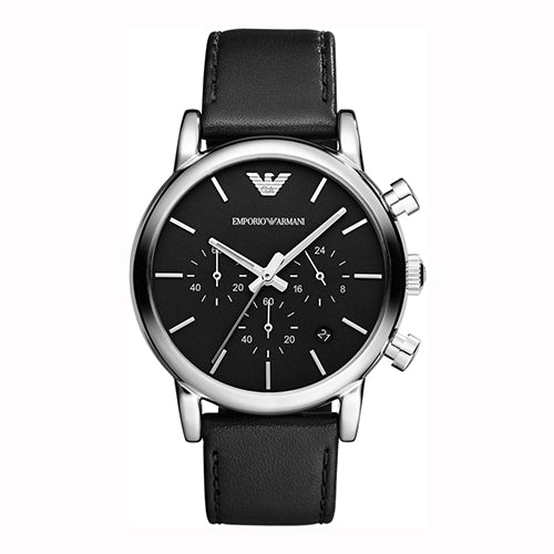 Emporio Armani  Gents Black Leather Chrongraph 41mm Watch