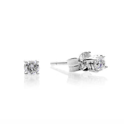 18ct White Gold 0.20ct Round Brilliant Diamond Four Claw Stud Earrings