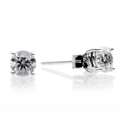18ct White Gold Four Claw 0.80ct Round Brilliant Diamond Earrings