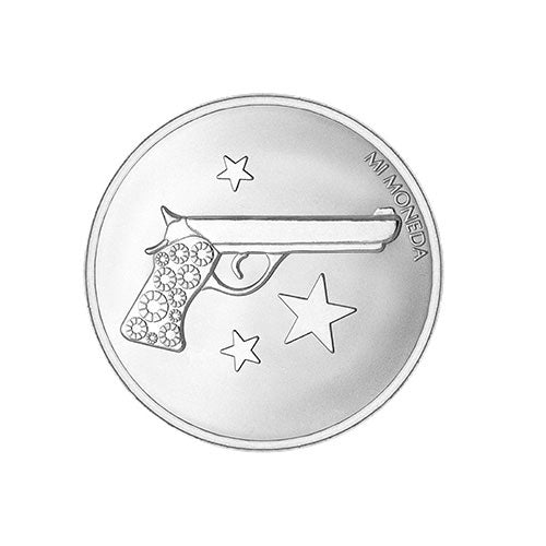 Mi Moneda Silver Plated Aim High & Pistol Small Coin