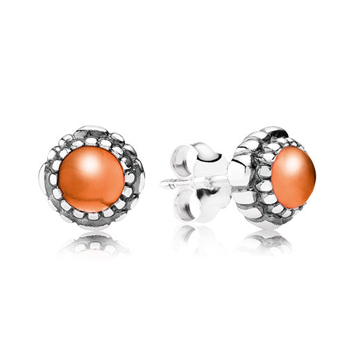 PANDORA Silver Carnelian Stud Earrings July Birthstone Studs
