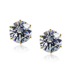 Carat 1.00ct Zirconia & Yellow-Gold Stud Earrings