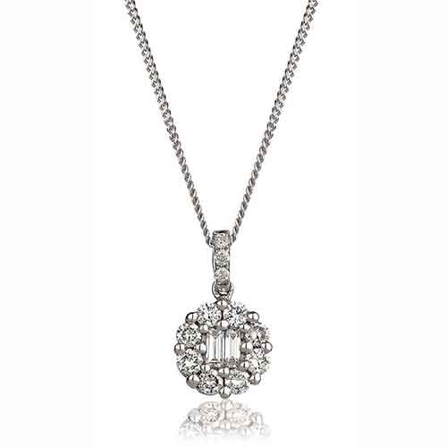 Diamond & 18ct White Gold 0.50ct Cluster Pendant & Necklace