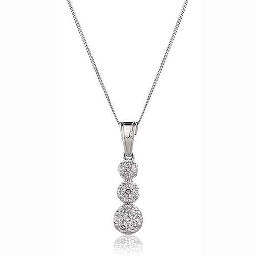Diamond & 18ct White-Gold Three Drop 0.50ct Pendant