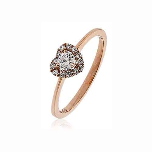 Diamond & 18ct Rose Gold Heart Cluster Ring
