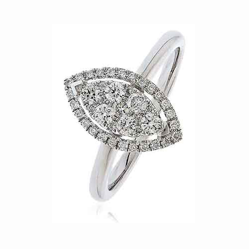 18ct White Gold & Diamond 0.45ct Cluster Ring
