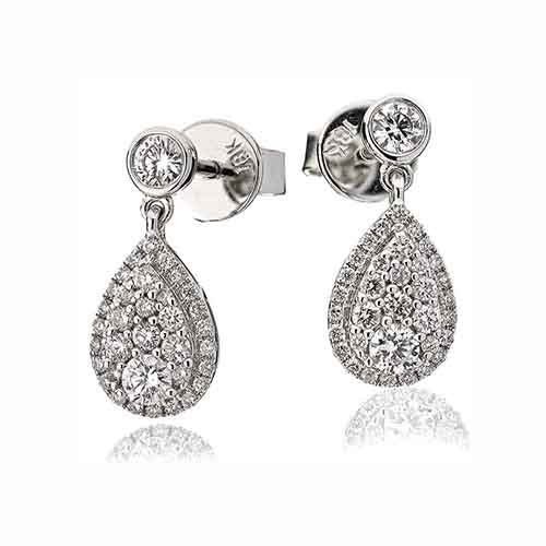 18ct White Gold & Diamond Pear Shaped Drop Earrings