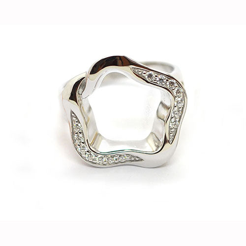 Babette Wasserman Silver & zirconia Rose Open Flower Ring