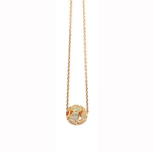 Babette Wasserman Earth Heart Rose Gold Plated & Zirconia Necklace
