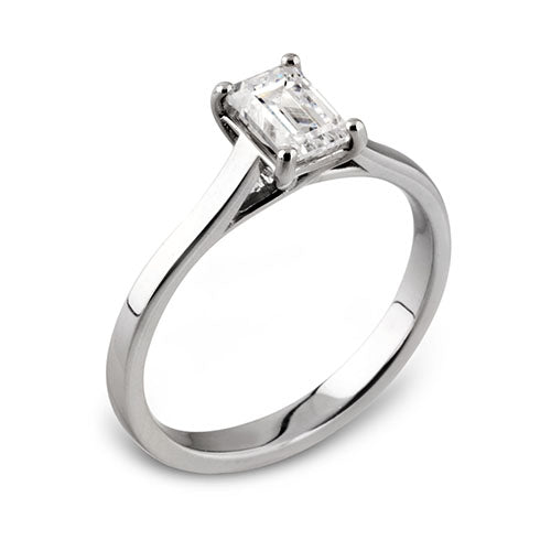 Diamond & Platinum ENTWINED 4-Claw Emerald Cut Engagement Ring