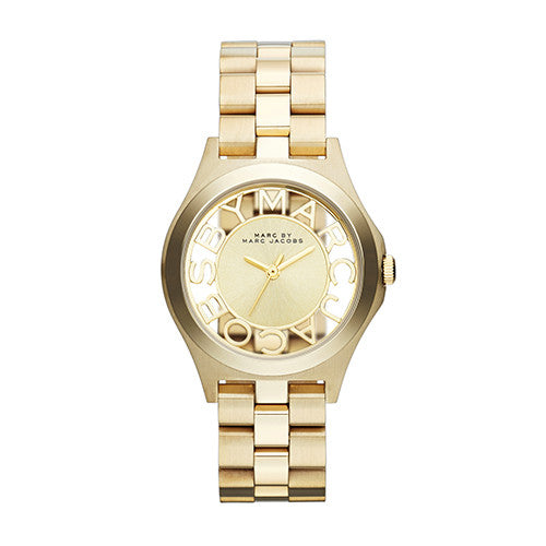 Marc By Marc Jacobs Ladies Henry Golden Tone Skeleton Watch