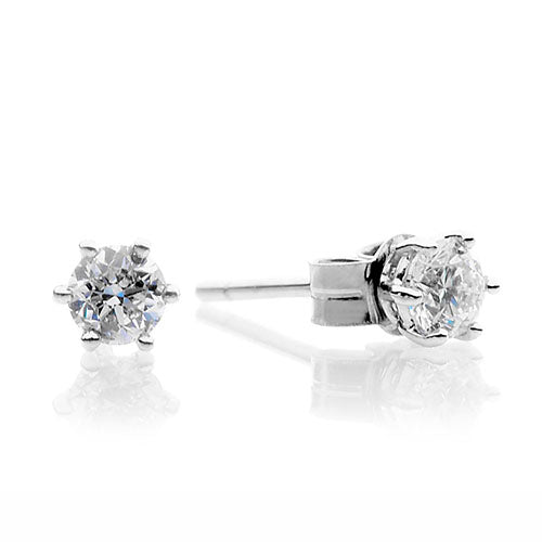 18ct White Gold Diamond Six Claw Stud Earrings