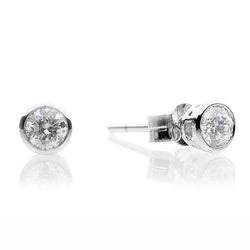 18ct White Gold 0.40ct Round Brilliant Diamond Smooth Set Earrings